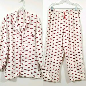 Victoria's Secret Pajama Set Kisses Print Sz Large